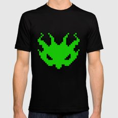 Pixel Invader : Green Black Mens Fitted Tee MEDIUM