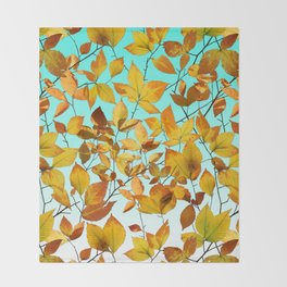 Autumn Leaves Azure Sky Throw Blanket