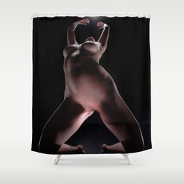 8633-LP Sensual Fine Art Nude Woman on Her Knees Reaching for the Light Shower Curtain
