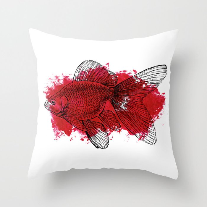 Big Red Decorative Pillows : big red fish Throw Pillow by candygun Society6