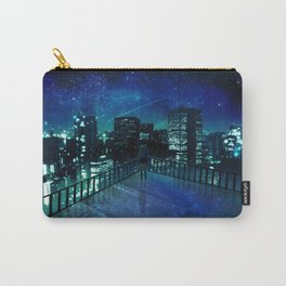 Girl In Skirt Watching Over Wonderful Starry Urban Skyline At Night Cartoon Scenery Ultra Resolution Carry-All Pouch