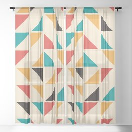 Triangles Mid Century Pattern Sheer Curtain