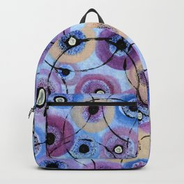 Circles and Flowers- Blue Backpack