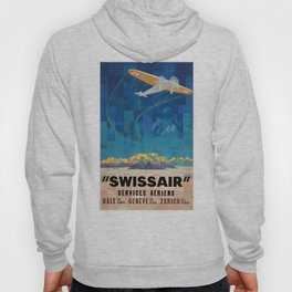 1925 Swissair Air Services Airline Poster Hoody