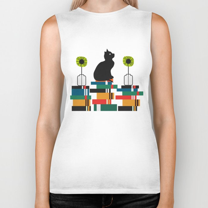 Cat, books and flowers Biker Tank