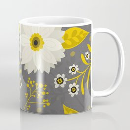 Cream and Grey Floral Collage Coffee Mug