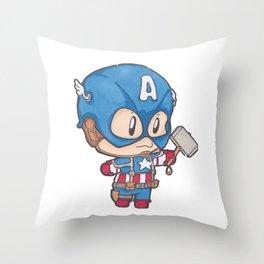 Capt. America-Chibi Throw Pillow