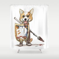 corgi Shower Curtains featuring Corgi Barbare by Bouletcorp
