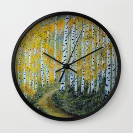 Birch Aspen Trees, Impressionism Landscape Painting, Autumn Colors Wall Clock