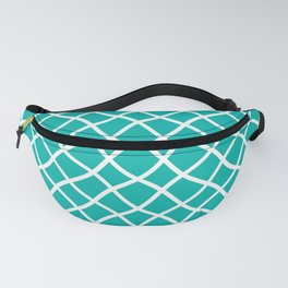 Turquoise and white curved grid pattern Fanny Pack