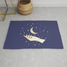 Magical hand and moon Rug