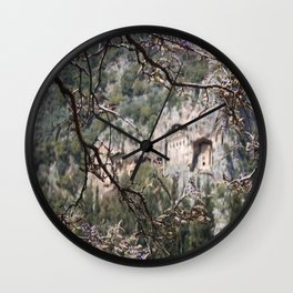 Wisteria Buds Surrounding the Lycian Tombs Dalyan Wall Clock