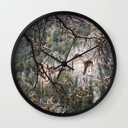 Wisteria Buds Surrounding the Lycian Tombs Dalyan Wall Clock