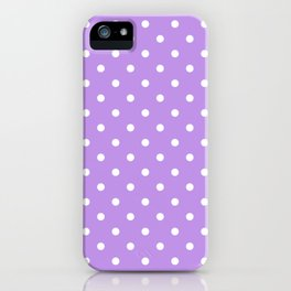 Lilac with White Polka Dots iPhone Case