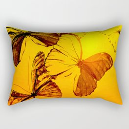 Fly fly butterfly! - Butterflies on a orange background with sunlight #society6 #buyart Rectangular Pillow