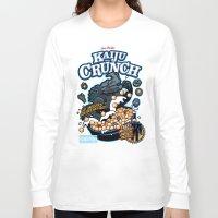 kaiju Long Sleeve T-shirts featuring Kaiju Crunch by Matt Dearden