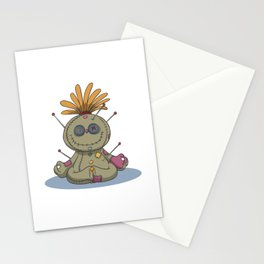 Funny voodoo doll chakra stones yoga lotus Stationery Cards