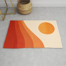 Abstraction_SUNSET_RED_Minimalism_001 Rug