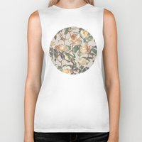 rose Biker Tanks featuring Soft Vintage Rose Pattern by micklyn