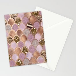 Magenta mermaid scales - turkish delight rose gold Stationery Cards
