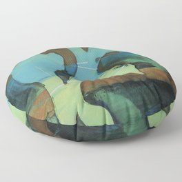 Organic shape over blue and green Floor Pillow