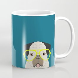 Emerson - Pug with neon Hipster Glasses, Cute Retro Dog, Dog, Husky with Glasses, Funny Dog Coffee Mug