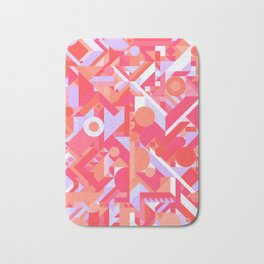 GEOMETRY SHAPES PATTERN PRINT (WARM RED LAVENDER COLOR SCHEME) Bath Mat