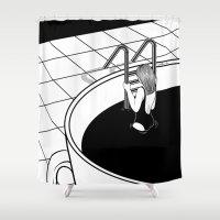 swim Shower Curtains featuring Morning Swim by Henn Kim