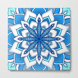Blue Aqua Flower Mandala Metal Print