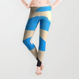Baby Blue Geometric Triangle Pattern With Black Accent Leggings