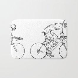 Transitions through Triathlon Cyclists Drawing B Bath Mat