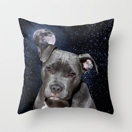 Pitbull Terrier and Moon Throw Pillow