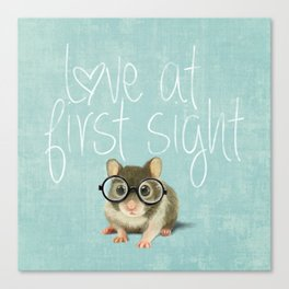 Little mouse in love Canvas Print
