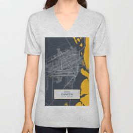 Cancun,Mexico City Map with GPS Coordinates Unisex V-Neck