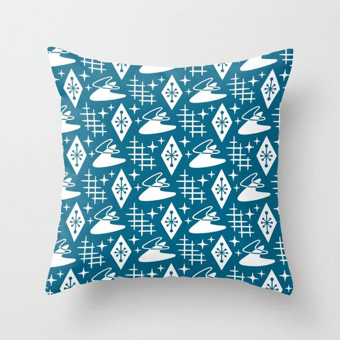 Mid Century Modern Boomerang Abstract Pattern Peacock Blue Throw Pillow