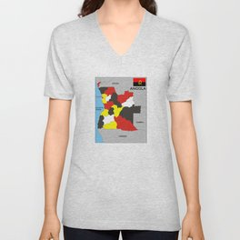 political map of Angola country with flag Unisex V-Neck
