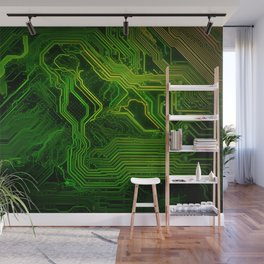Green glowing circuit - by Brian Vegas Wall Mural