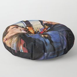 Sherlock and John in London Floor Pillow