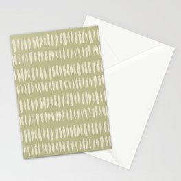 Pale Beige on Earthy Green Parable to 2020 Color of the Year Back to Nature Grunge Vertical Dashes Stationery Cards