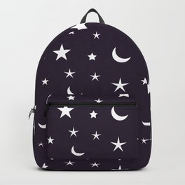 White moon and star pattern on purple background Backpack