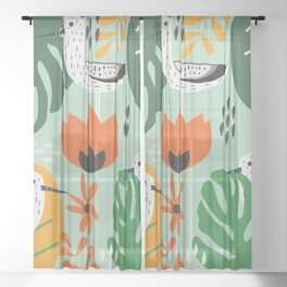 Birds and tropical botany Sheer Curtain