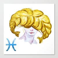 pisces Canvas Prints featuring Pisces by Aloke Design