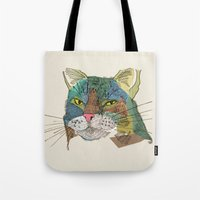 whisky Tote Bags featuring Whisky Cat by Faye Finney