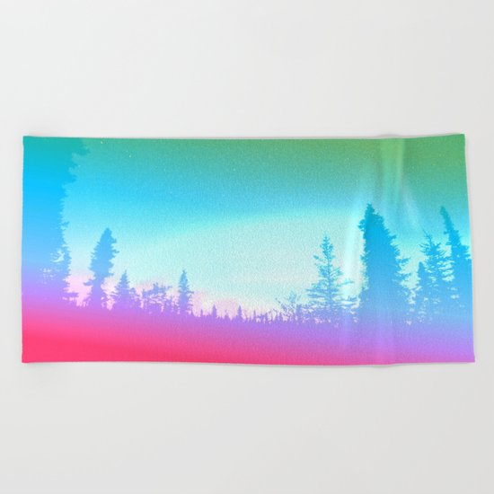 Bright Colorful Forest Beach Towel