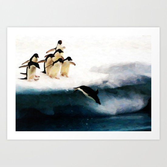 The Penguin Party - Painting Style Art Print