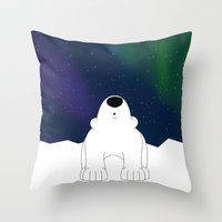 northern lights Throw Pillows featuring Northern Lights by The Animal Kingdom