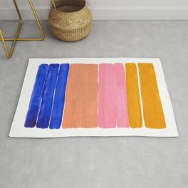 Blue Pink Yellow Tan Colorful Rothko Minimalist Mid Century Modern Color Fields Stripes by Ejaaz Haniff Rug