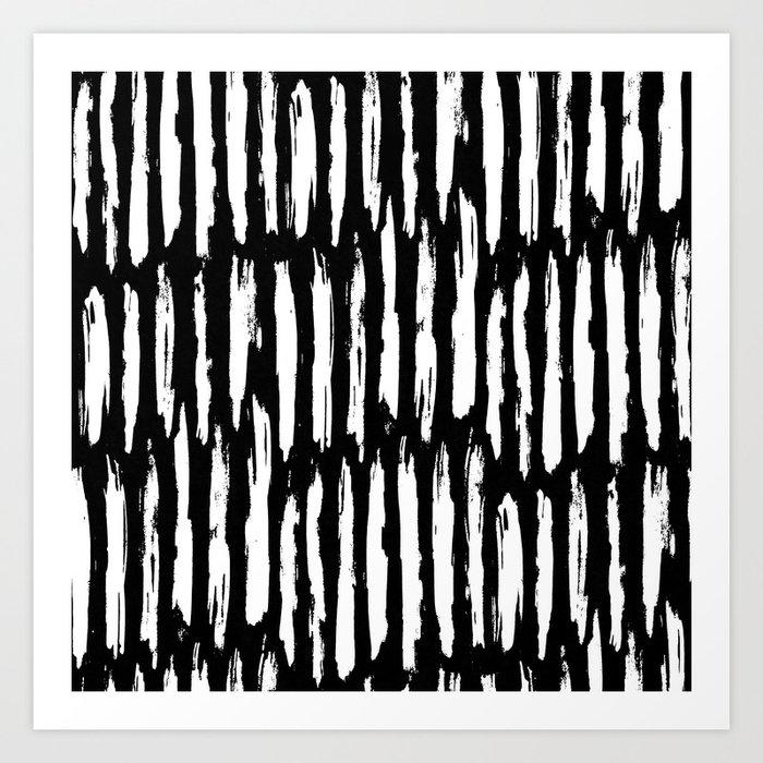 Vertical Dash White on Black Paint Stripes Art Print