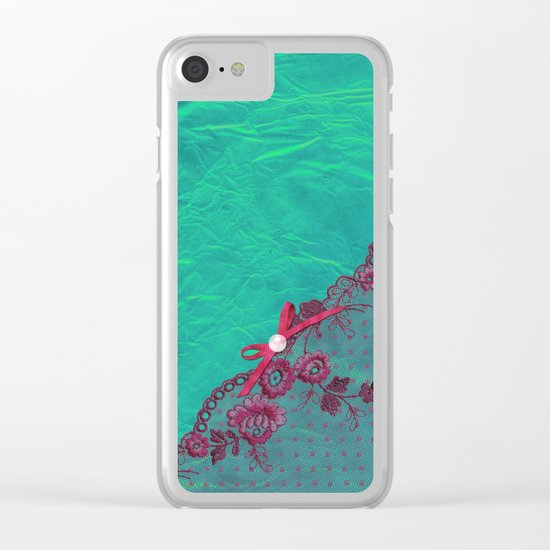 Claire´s treasure I - Pink lace,ribbon and pearl on aqua backround Clear iPhone Case