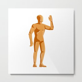 mannequin human anatomy standing retro Metal Print